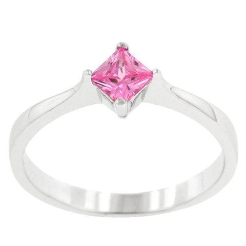 Image of Rings $33.30 Classic Petite Pink Princess Cut Square Solitaire Ring JGI cz pink princess rhodium Solitaire