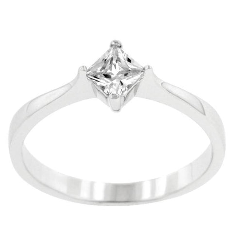 Rings $38.50 Classic Petite Square Princess Cut Solitaire Ring JGI cz princess rhodium solitaire