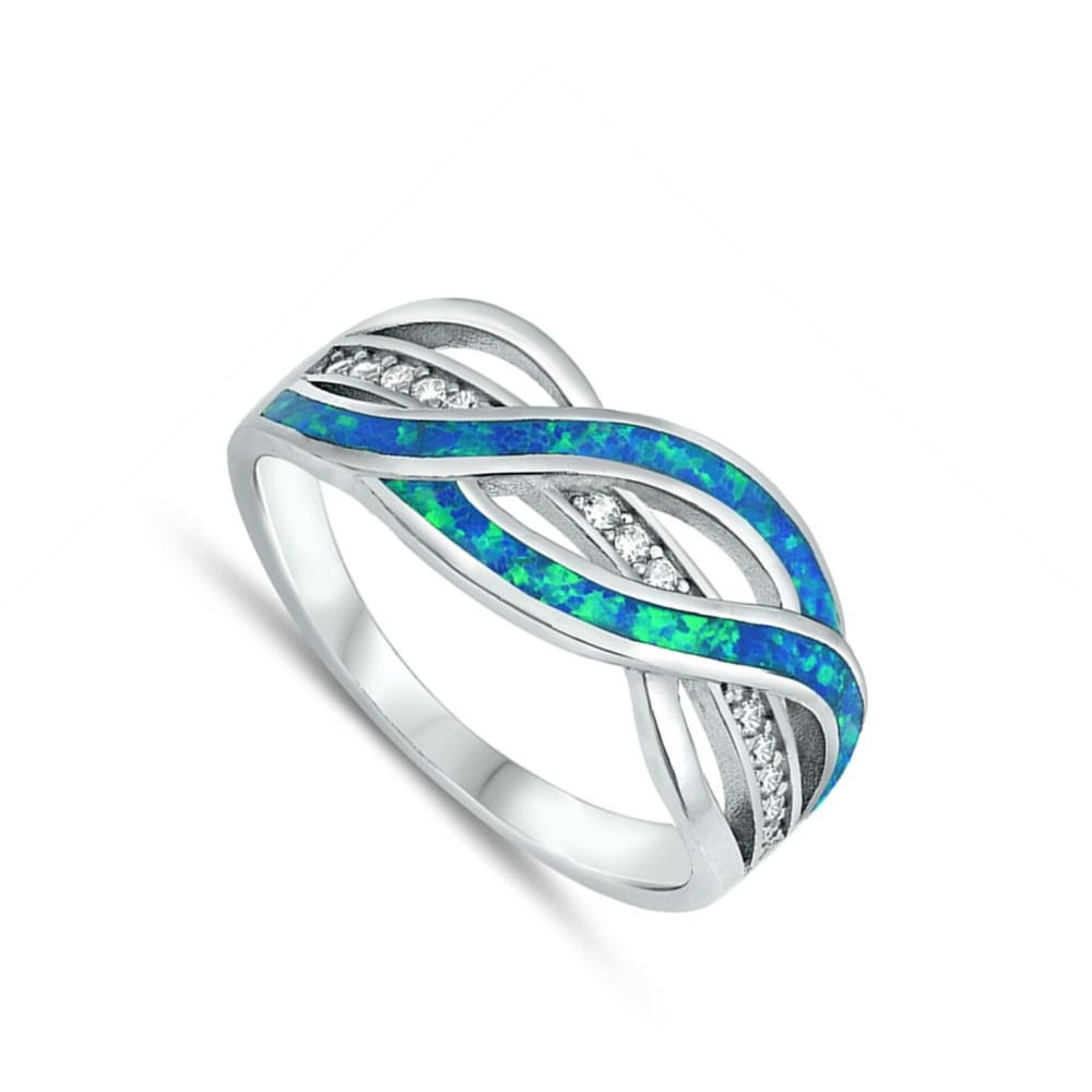 Rings $38.20 Clear White Cubic-Zirconia with Blue Lab Opal Weave Knot Design Set in a Sterling Silver Band blue clear cubic-zirconia cz opal