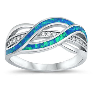 Clear White Cubic-Zirconia with Blue Lab Opal Weave Knot Design Set in a Sterling Silver Band