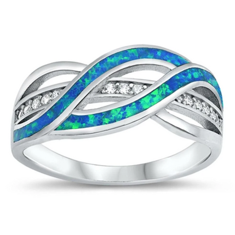 Image of Rings $38.20 Clear White Cubic-Zirconia with Blue Lab Opal Weave Knot Design Set in a Sterling Silver Band 25-50 badge-toprated blue clear