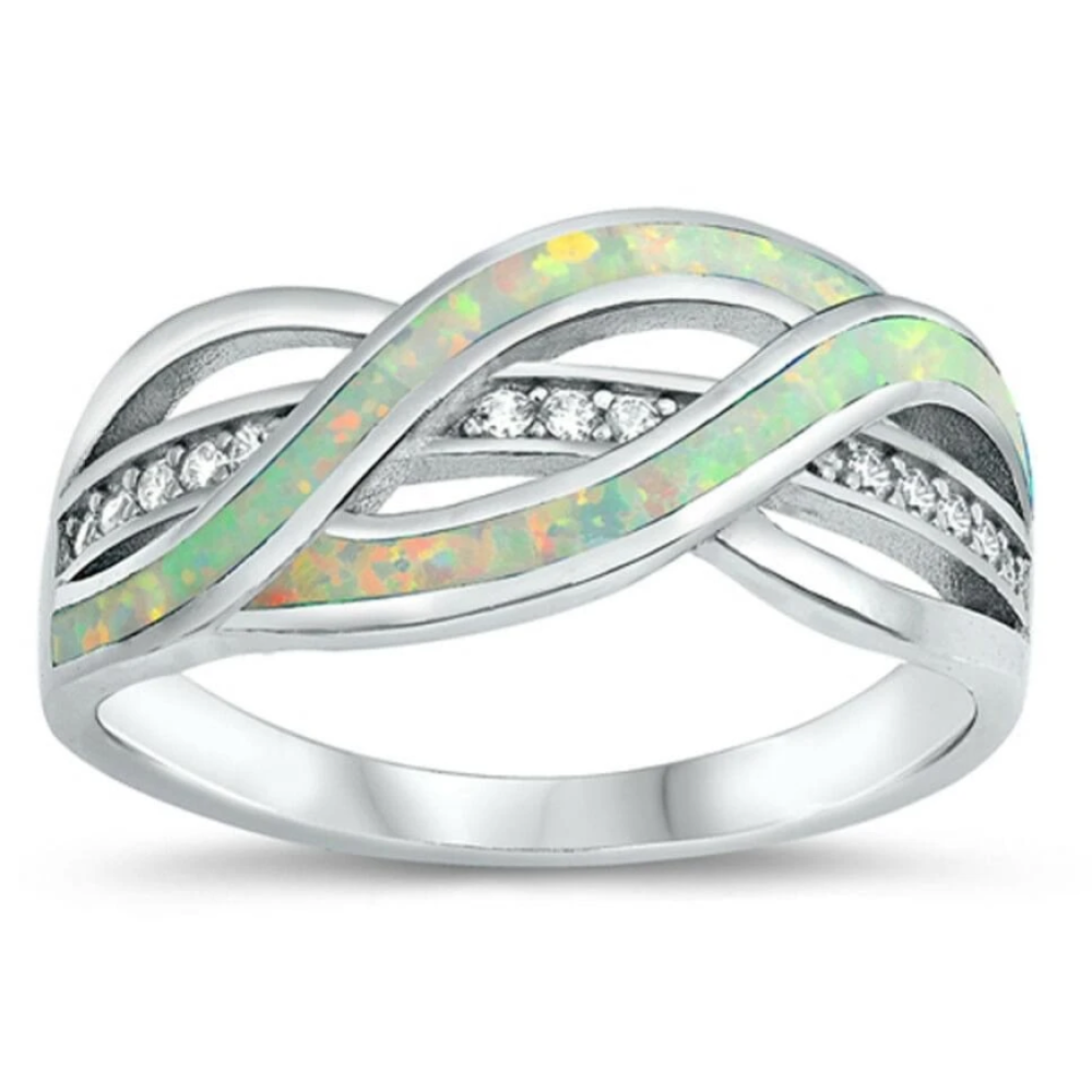Rings $38.20 Clear White Cubic-Zirconia with White Lab Opal Weave Knot Design Set in a Sterling Silver Band 25-50 badge-toprated clear