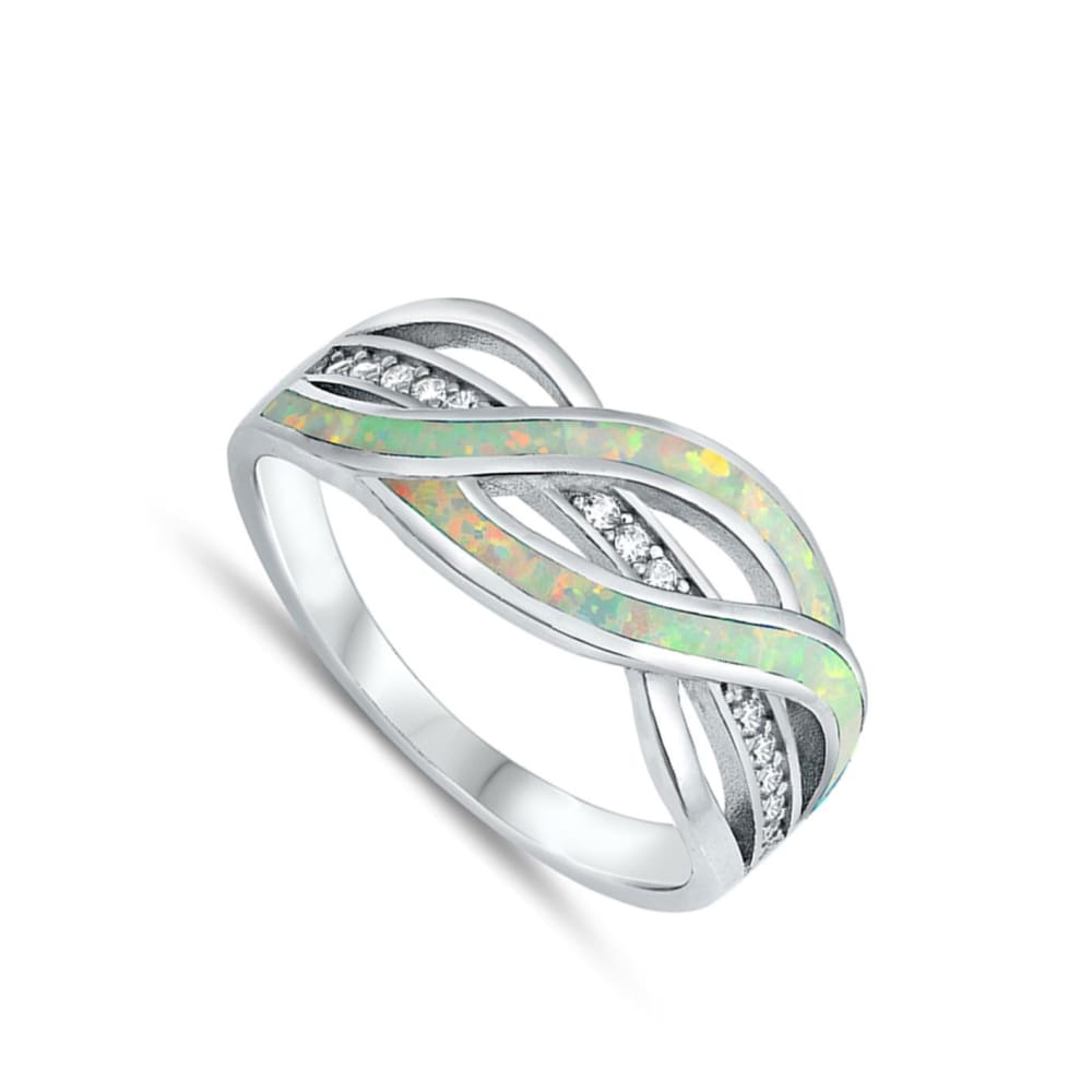 Rings $38.20 Clear White Cubic-Zirconia with White Lab Opal Weave Knot Design Set in a Sterling Silver Band clear cubic-zirconia cz opal