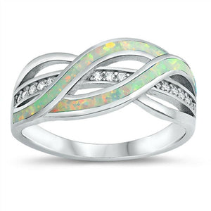 Clear White Cubic-Zirconia with White Lab Opal Weave Knot Design Set in a Sterling Silver Band