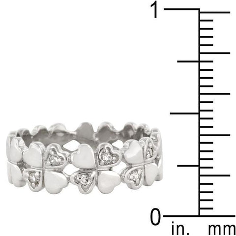 Image of Rings $43.70 Clover Hearts Eternity Ring Band Sterling Silver JGI band cz eternity Heart lucky