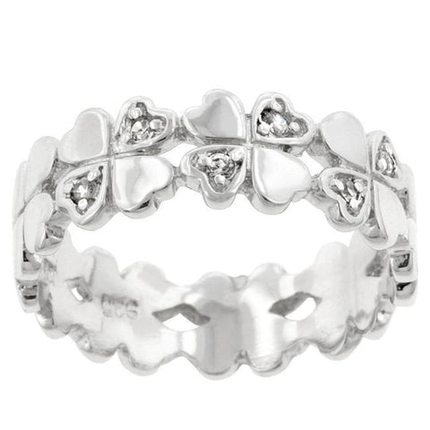 Rings $43.70 Clover Hearts Eternity Ring Band Sterling Silver JGI band cz eternity Heart lucky