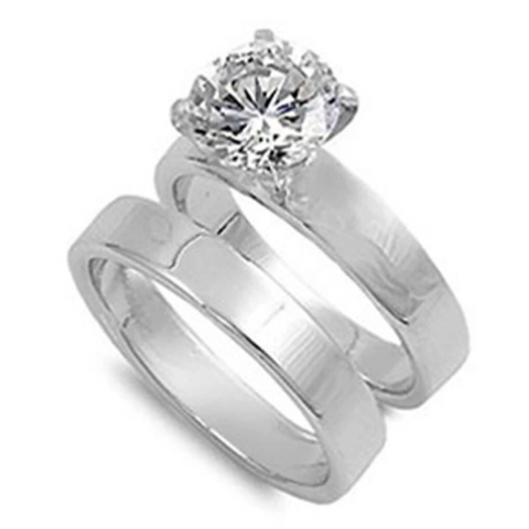 Image of Rings $56.38 Cubic Zirconia Sterling Silver with 3mm Wide Band Engagement Ring Set 2-carat 3-carat 3mm 50-100 badge-toprated