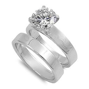 Cubic Zirconia Sterling Silver with 3mm Wide Band Engagement Ring Set