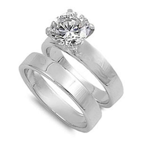 Image of Rings $56.38 Cubic Zirconia Sterling Silver with 3mm Wide Band Engagement Ring Set 2-carat 3-carat 3mm 50-100 badge-onsale