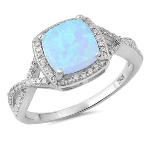 Cushion Cut Blue Lab Opal with Clear CZ Stone Halo Infinity Ring