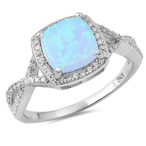 Rings $31.48 Cushion Cut Blue Lab Opal with Clear CZ Stone Halo Infinity Ring 25-50 badge-toprated blue clear cubic-zirconia