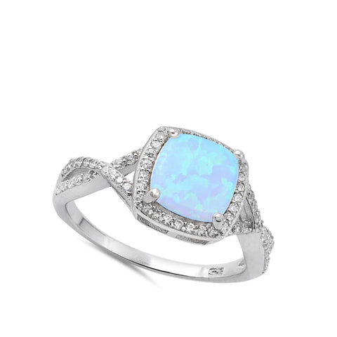 Image of Rings $31.48 Cushion Cut Blue Lab Opal with Clear CZ Stone Halo Infinity Ring blue clear cubic-zirconia cz halo