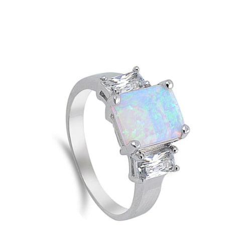 Rings $31.48 Cushion Cut Light Blue Lab Opal with Clear CZ Stone Accents Set in Sterling Silver Band accent blue clear cubic-zirconia cz