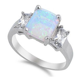 Rings $31.48 Cushion Cut Light Blue Lab Opal with Clear CZ Stone Accents Set in Sterling Silver Band 25-50 accent badge-toprated blue clear