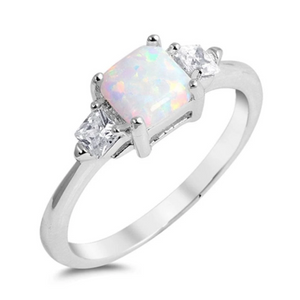 Rings $35.26 Cushion Cut White Lab Opal and 2 Square Clear CZ Stones Set in the Sterling Silver Band 25-50 badge-toprated clear