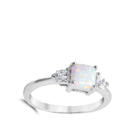 Rings $35.26 Cushion Cut White Lab Opal and 2 Square Clear CZ Stones Set in the Sterling Silver Band clear cubic-zirconia cushion cz opal