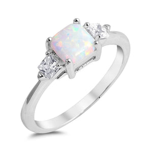 Cushion Cut White Lab Opal and 2 Square Clear CZ Stones Set in the Sterling Silver Band