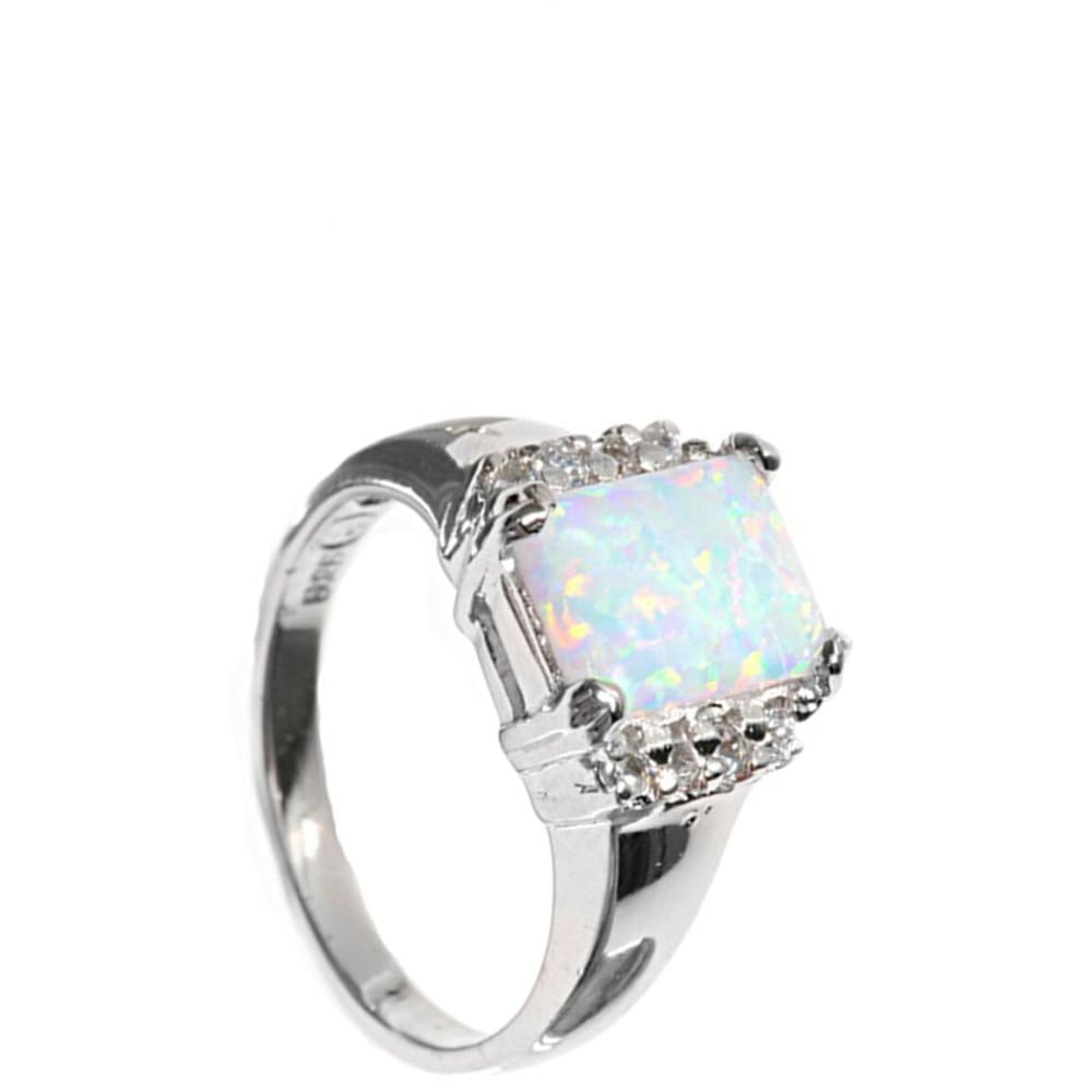 Rings $47.86 Cushion Cut White Lab Opal and Clear White Cubic Zirconia Set in Sterling Silver Band clear cubic-zirconia cz opal white