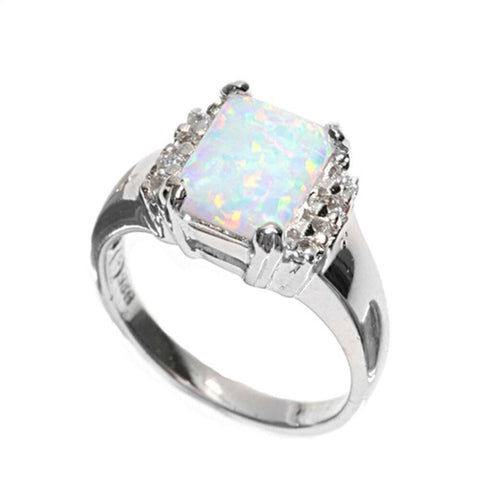 Image of Rings $47.86 Cushion Cut White Lab Opal and Clear White Cubic Zirconia Set in Sterling Silver Band clear cubic-zirconia cz opal white