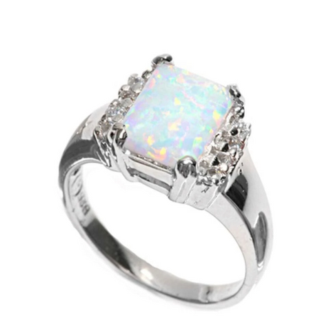 Image of Rings $47.86 Cushion Cut White Lab Opal and Clear White Cubic Zirconia Set in Sterling Silver Band 25-50 badge-toprated clear cubic-zirconia