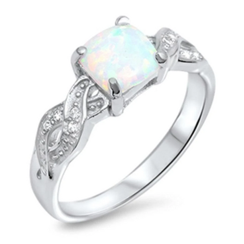 Rings $27.28 Cushion Cut White Lab Opal in an Infinity Knot with Clear CZ Stones Set in Sterling Silver Ring Size 4-12 25-50,