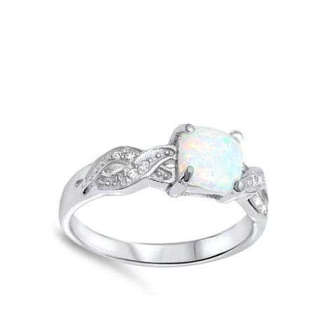 Image of Rings $27.28 Cushion Cut White Lab Opal in an Infinity Knot with Clear CZ Stones Set in Sterling Silver Ring Size 4-12 25-50 clear