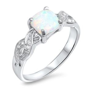 Cushion Cut White Lab Opal in an Infinity Knot with Clear CZ Stones Set in Sterling Silver Ring