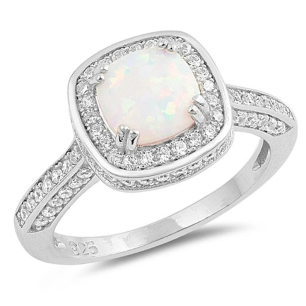 Rings $37.57 Cushion Cut White Lab Opal Solitaire with Clear CZ Stone Halo Sterling Silver Ring 25-50 badge-toprated er halo opal