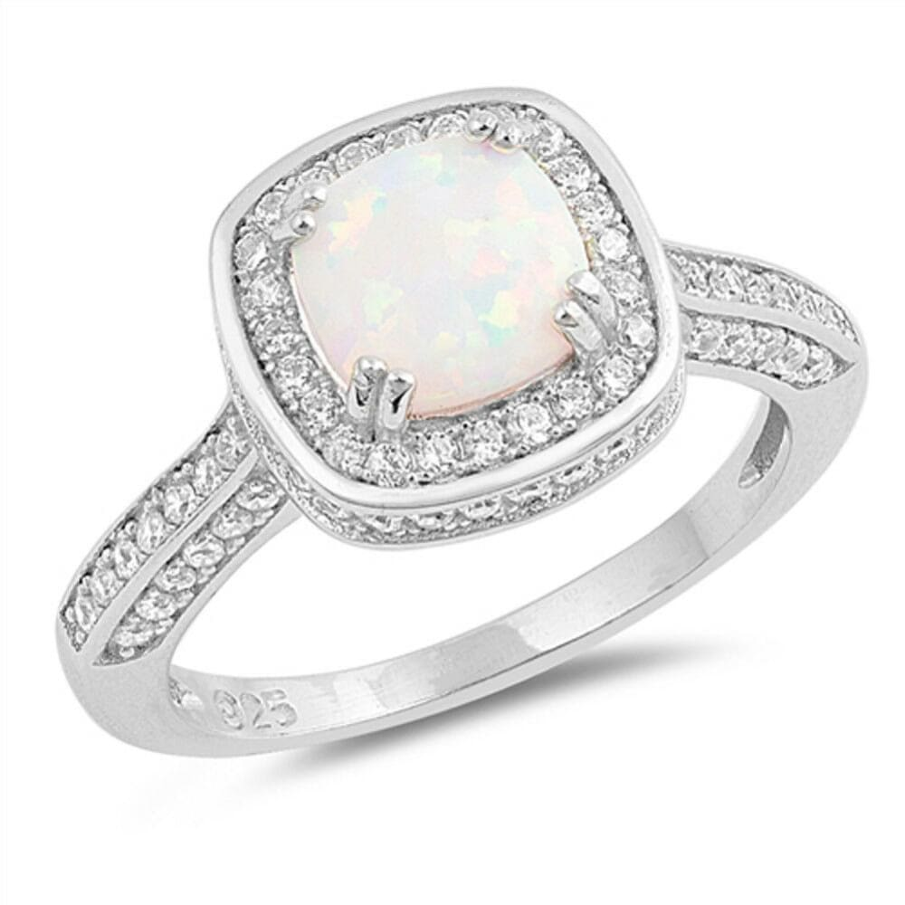 Rings $37.57 Cushion Cut White Lab Opal Solitaire with Clear CZ Stone Halo Sterling Silver Ring halo opal solitaire white