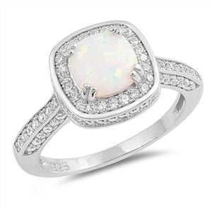 Cushion Cut White Lab Opal Solitaire with Clear CZ Stone Halo Sterling Silver Ring
