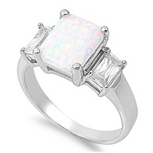 Rings $31.48 Cushion Cut White Lab Opal with Clear Cubic Zirconia Accent Stones in Sterling Silver Band 25-50 accent badge-toprated clear