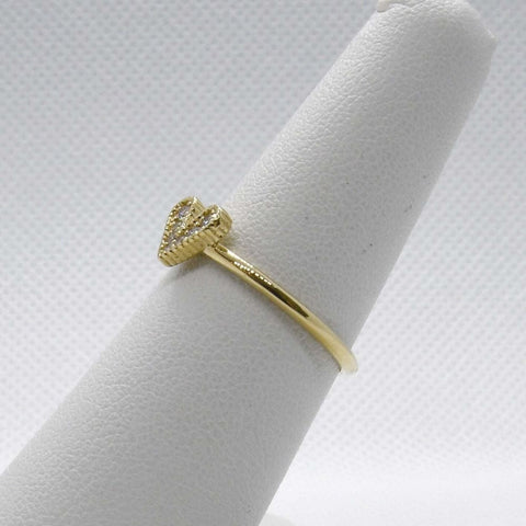 Image of Rings $399.00 Diamond Heart Shape Ring 14K Yellow Gold - 0.07 Tcw Promise Ring Heart Rg Yg