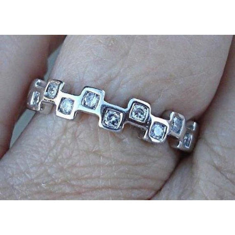 Rings $299.99 Diamond In Squares White Gold Band Stacking Ring 14K White Gold Band