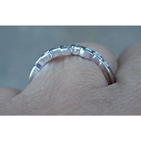 Image of Rings $299.99 Diamond In Squares White Gold Band Stacking Ring 14K White Gold Band