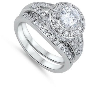 Double Halo Round Cubic Zirconia Split Shank Engagement Ring Wedding Set