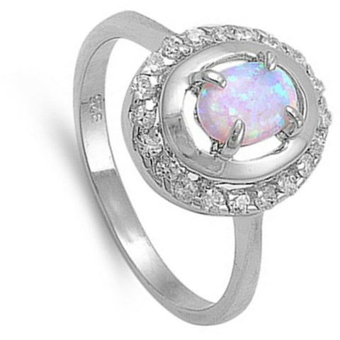 Image of Rings $43.99 Double Halo White Opal and Cubic Zirconia Sterling Silver Ring clear cz er halo opal