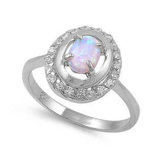 Double Halo White Opal and Cubic Zirconia Sterling Silver Ring