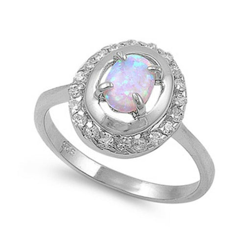 Rings $43.99 Double Halo White Opal and Cubic Zirconia Sterling Silver Ring clear cz er halo opal