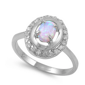 Rings $43.99 Double Halo White Opal and Cubic Zirconia Sterling Silver Ring 25-50 badge-toprated clear cubic-zirconia cz