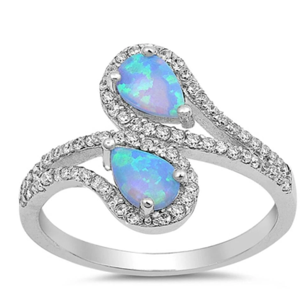 Rings $32.11 Double Teardrop Blue Lab Opal with Clear CZ Stone Halo in Sterling Silver Band 25-50 badge-toprated blue clear cubic-zirconia