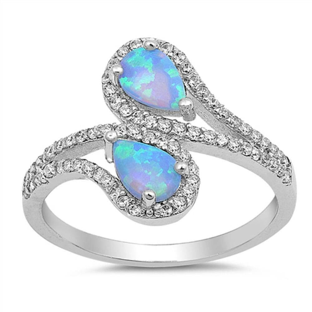 Rings $32.11 Double Teardrop Blue Lab Opal with Clear CZ Stone Halo in Sterling Silver Band blue clear cubic-zirconia cz opal