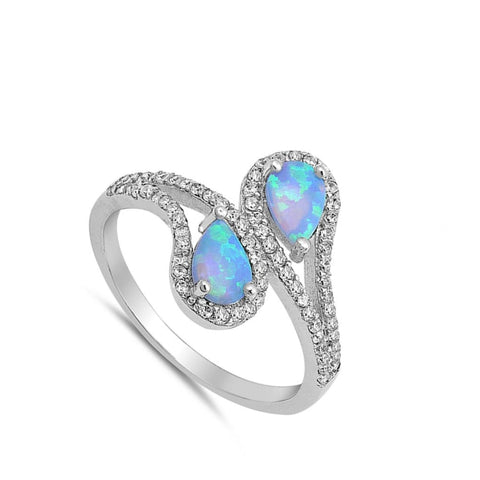 Image of Rings $32.11 Double Teardrop Blue Lab Opal with Clear CZ Stone Halo in Sterling Silver Band blue clear cubic-zirconia cz opal