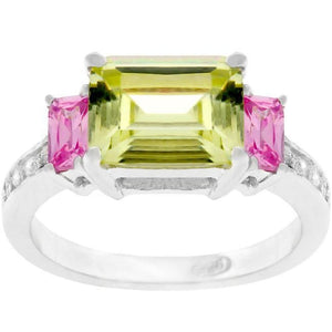 Rings $35.90 East West Green and Pink Triplet Three Stone Ring JGI 25-50 4-carat cubic-zirconia cz emerald cut