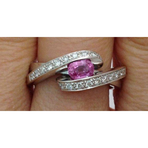 Rings $499.99 East West Pink Sapphire And Diamond White Gold Ring - 14K Colored Stones Halo Oval Pink