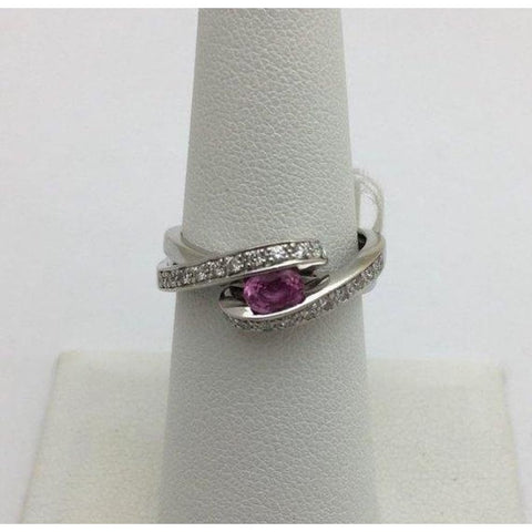 Image of Rings $499.99 East West Pink Sapphire And Diamond White Gold Ring - 14K Colored Stones Halo Oval Pink
