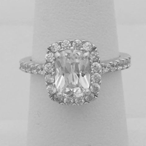 Rings $85.00 Elongated Cushion Cut 2 Carat Cz Halo Cz Engagement Ring Big Cushion Er Feminine Halo