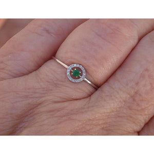 Emerald with Floating Diamond Halo Dainty Ring 18K White Gold