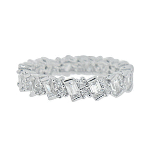 Rings $60.00 Eternity Band Of Baguette And Round Cz Stones Cz Eternity