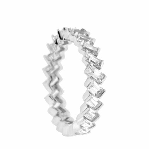 Image of Rings $60.00 Eternity Band Of Baguette Emerald Cut Cubic Zirconia By Cz Sparkle Jewelry® 4Mm Cz Eternity Formal Occasion Trending