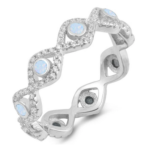 Image of Rings $47.99 Eternity Band of Light Blue White Bezel Evil Eye Lab Opals Set in Cubic Zirconia and Sterling Silver 25-50 badge-toprated clear